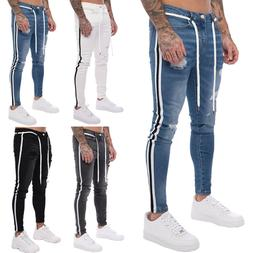 US Mens Ripped Skinny Biker Jeans Frayed Destroyed Trousers