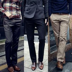 Mens Slim Fit Formal Business Work Dress Pants Straight Jean
