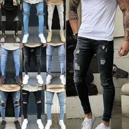 Mens Slim Fit Jeans Super Stretch Denim Pants Ripped Casual
