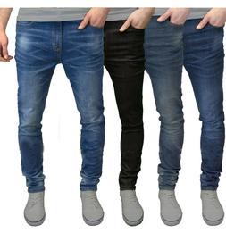 Mens Slim Fit Jeans Super Stretch Denim Pants Slim Skinny Ca