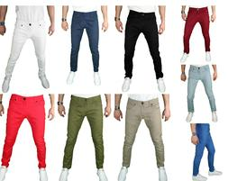 Mens skinny SLIM FIT STRETCH Chino Trousers Casual Flat Fron
