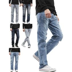 Mens STRAIGHT JEANS Slim Fit Stretch Denim Pants Casual Dist