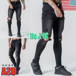 Mens Stretch Ripped Skinny Jeans Distressed Frayed Slim Fit