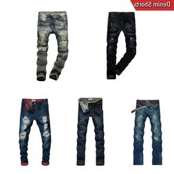 Mens Stylish Washed Denim Casual Fashion Jeans Pants Trouser