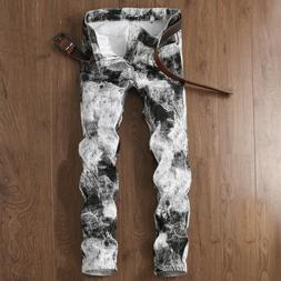 Mens White Black Skinny Straight Slim Fit Jeans Painted Dist