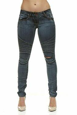 CG JEANS Moto Biker Ripped at Knee Slim Fit Skinny Jeans For