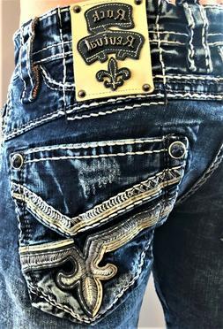 New Men's Rock Revival Cael Straight Stretch Denim Jeans 28