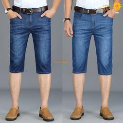 New Men`s Stretch Capris Business Denim shorts High Waist Cr