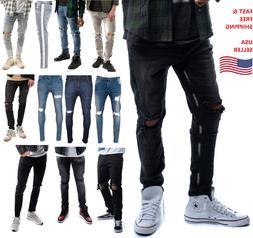 Mens Denim Ripped Skinny Fit Stretch Slim Fit Biker Pants De