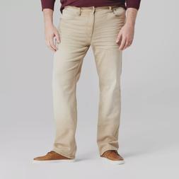 New Mens Slim Straight Stretch Distressed Khaki Jeans Big &
