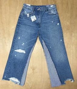 NEW Zara Woman High Waist Distressed Stripe Wide Leg Jeans S