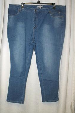 NEW WOMENS PLUS SIZE 28W LIGHT STONEWASH SANDED  5 POCKET ST