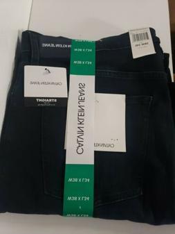 NWT! Mens Calvin Klein Dark Blue Straight Leg Stretch Jeans