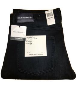 NWT Mens Calvin Klein Dark Blue Straight Leg Stretch Jeans P