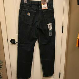 NWT Mens Carhartt relaxed fit holter denim blue jeans size 3