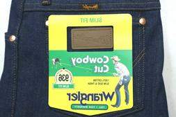 NWT WRANGLER Mens Stretch Denim Cowboy Cut Blue Jeans Slim F