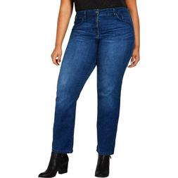 NWT Style & Co. Womens Blue Denim Classic Straight Jeans Plu