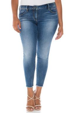 Plus Size Women's Slink Jeans Frayed Hem Ankle Jeans, Size 2