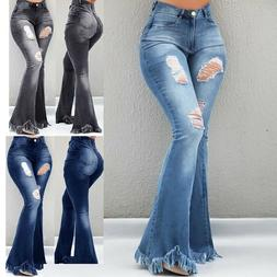 Plus Size Fashion Ladies Ripped Wide Leg Denim Pants Flare J