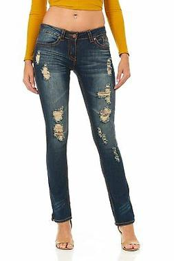 Cover Girl Plus Size Jeans for Women Dark Blue Distressed Bo