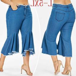 Plus Size Women's Denim Jeans Flare Wide Leg Tassel Ruffled