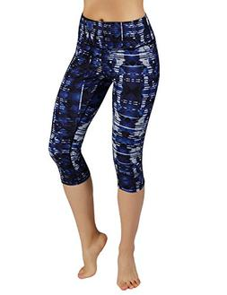 ODODOS Power Flex Printed Yoga Capris Tummy Control Workout
