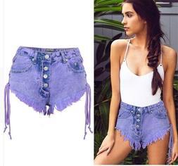 Purple High Waist Denim Shorts Women Sexy Jeans Vintage Styl