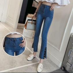 Retro Women's High Waisted Wide Leg Slit Jeans Lady elastic