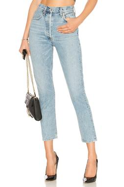 AGOLDE Riley High Rise Button Fly Straight Crop Jeans Renewa