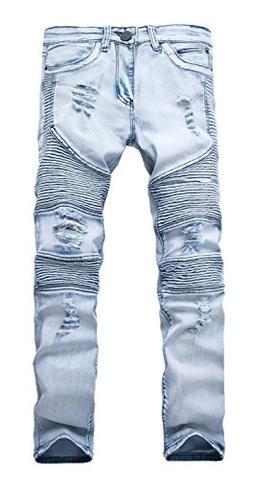 NITAGUT Men's Ripped Destroyed Distressed Slim Fit Jeans Bik