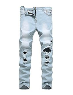 DAVID.ANN Men's Ripped Distressed Destroyed Straight Fit Ski