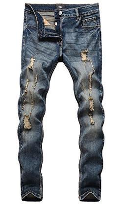 ZLZ Men's Ripped Skinny Distressed Destroyed Slim Fit Stretc