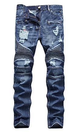 NITAGUT Men's Ripped Slim Straight Fit Biker Jeans With Zipp