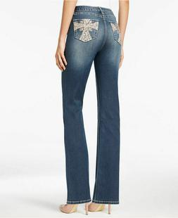 EARL JEANS Embroidered Jean  Bling Pocket's  Slim Boot Size