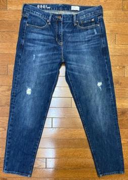 Gap Sexy Boyfriend 100% Cotton Denim Distressed Crop Jeans s