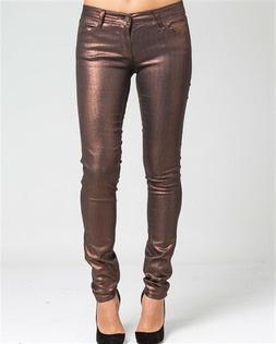 Sexy Metallic, Dark Chestnut / Copper Skinny Jeans for Women