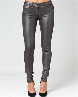 Sexy Metallic, Dark Pewter Skinny Jeans for Women by Hart De