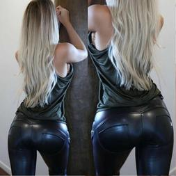 Sexy Women Casual Faux Leather Jeans Trousers Stretchy Slim