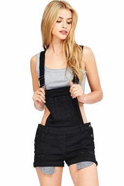 Wax Jeans Short Overalls Front Pockets Light Distressing Cla