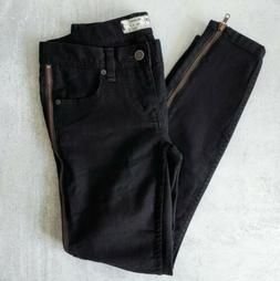 Free People Side Zipper Crop Ankle Skinny Black Jeans Levon