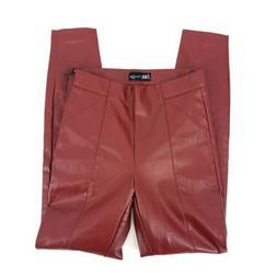 Size Small ZARA Faux Leather Red Pants High Waist High Waist