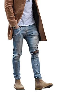 Men's Light Blue Skinny Fit Destroyed Cotton Denim Jeans wit