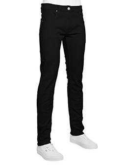 URBAN K Men's Skinny Fit Jeans, Black, 32W x 30L