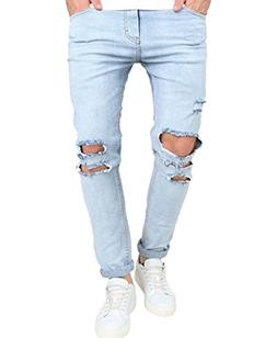 Men's Skinny Ripped Washed Jeans Destroyed Knee Holes Deni