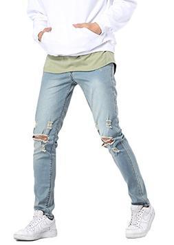 MEIKESEN Men's Blue Slim Fit Cotton Stretch Destroyed Ripped