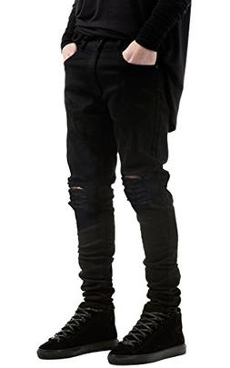 Men's Slim Fit Black Stretch Destroyed Ripped Skinny Denim J