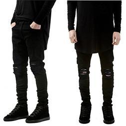 Leward Men's Slim Fit Black Stretch Destroyed Ripped Skinny