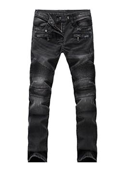 Lavnis Men's Slim Fit Vintage Distressed Motorcycle Jeans Ru