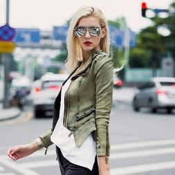 Slim Rivet Denim Jacket For Women Vintage Punk Rock Ladies C