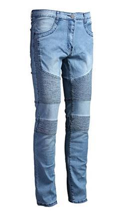 DAVID.ANN Men's Slim Straight Fit Biker Jeans,Light Blue,29